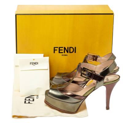 Fendi Metallic Tri Color Fendista Platform T-Bar Ankle Strap Sandals Size 36 360100 - 7
