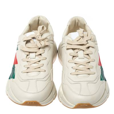 Gucci Cream Leather Web Rhyton Low Top Sneakers Size 42 360103 - 2