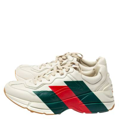 Gucci Cream Leather Web Rhyton Low Top Sneakers Size 42 360103 - 3