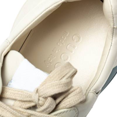 Gucci Cream Leather Web Rhyton Low Top Sneakers Size 42 360103 - 6
