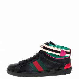 Gucci Black Leather Stripe Ace High Top Sneakers Size 41.5 360106