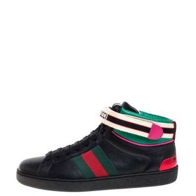 Gucci Black Leather Stripe Ace High Top Sneakers Size 41.5 360106 - 1