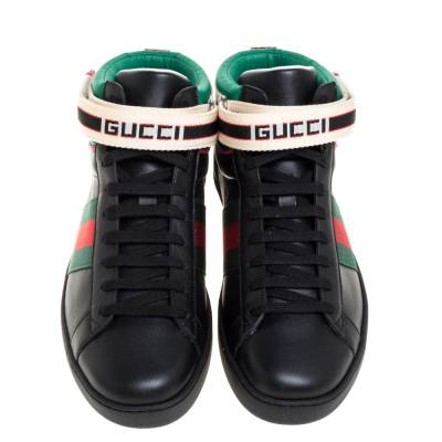 Gucci Black Leather Stripe Ace High Top Sneakers Size 41.5 360106 - 2