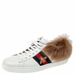 Gucci White Leather and Fur Ace Embroidered Bee Low Top Sneaker Size 44 360108