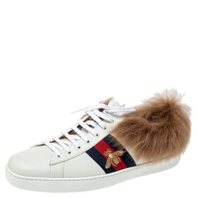 Gucci White Leather and Fur Ace Embroidered Bee Low Top Sneaker Size 44 360108 - 1