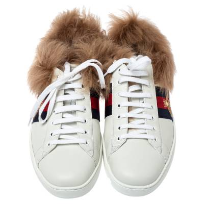 Gucci White Leather and Fur Ace Embroidered Bee Low Top Sneaker Size 44 360108 - 2