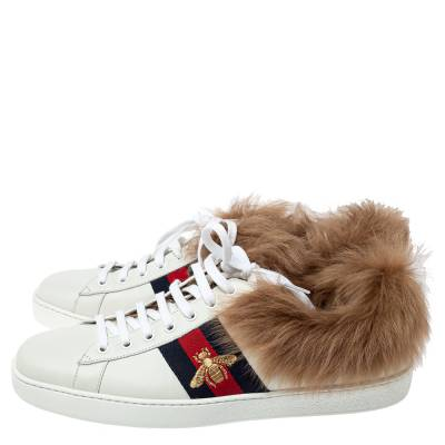 Gucci White Leather and Fur Ace Embroidered Bee Low Top Sneaker Size 44 360108 - 3