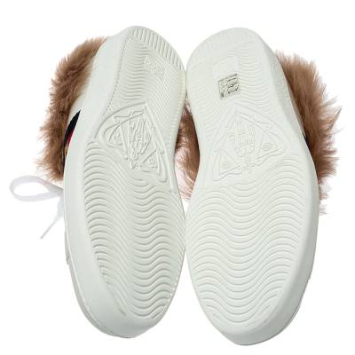Gucci White Leather and Fur Ace Embroidered Bee Low Top Sneaker Size 44 360108 - 5