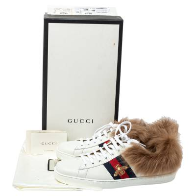 Gucci White Leather and Fur Ace Embroidered Bee Low Top Sneaker Size 44 360108 - 7