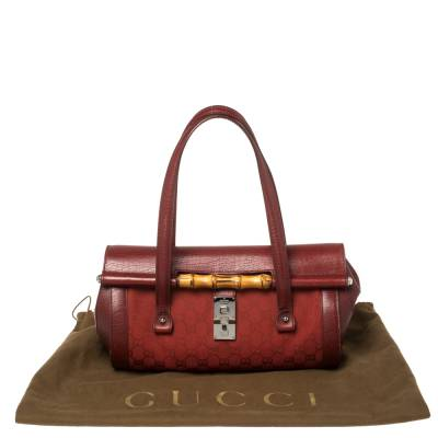 Gucci Red GG Canvas and Leather Bamboo Bullet Bag 359912 - 9