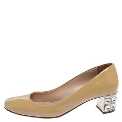 Miu Miu Beige Patent Leather Crystal Embellished Block Heel Pumps Size 37.5 357799 - 1