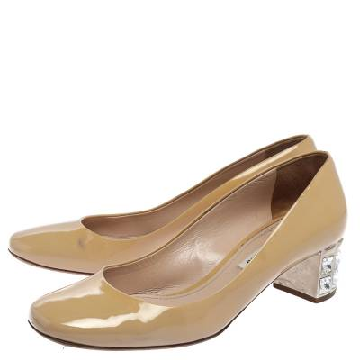 Miu Miu Beige Patent Leather Crystal Embellished Block Heel Pumps Size 37.5 357799 - 3