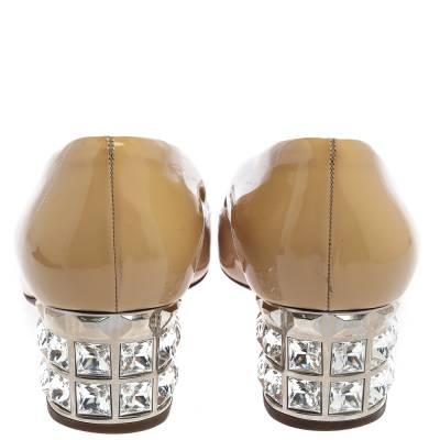 Miu Miu Beige Patent Leather Crystal Embellished Block Heel Pumps Size 37.5 357799 - 4