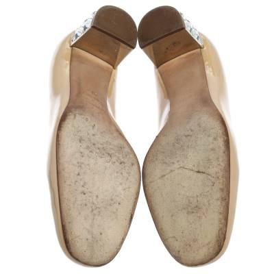 Miu Miu Beige Patent Leather Crystal Embellished Block Heel Pumps Size 37.5 357799 - 5