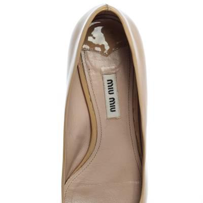 Miu Miu Beige Patent Leather Crystal Embellished Block Heel Pumps Size 37.5 357799 - 6