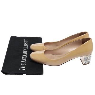 Miu Miu Beige Patent Leather Crystal Embellished Block Heel Pumps Size 37.5 357799 - 7