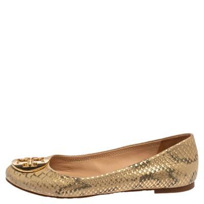 Tory Burch Gold/Beige Python Print Leather Reva Ballet Flats Size 37.5 360247 - 1