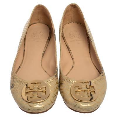 Tory Burch Gold/Beige Python Print Leather Reva Ballet Flats Size 37.5 360247 - 2