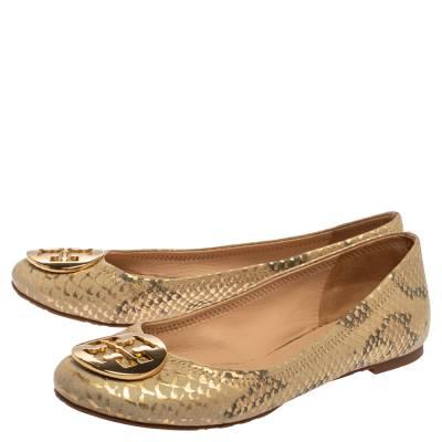 Tory Burch Gold/Beige Python Print Leather Reva Ballet Flats Size 37.5 360247 - 3