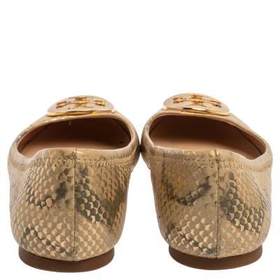 Tory Burch Gold/Beige Python Print Leather Reva Ballet Flats Size 37.5 360247 - 4
