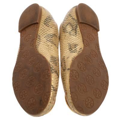 Tory Burch Gold/Beige Python Print Leather Reva Ballet Flats Size 37.5 360247 - 5