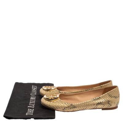 Tory Burch Gold/Beige Python Print Leather Reva Ballet Flats Size 37.5 360247 - 7