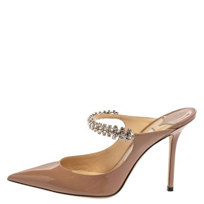 Jimmy Choo Beige Patent Leather Bing 65 Crystal Embellished Pointed Toe Mule Sandals Size 39.5 360246 - 1