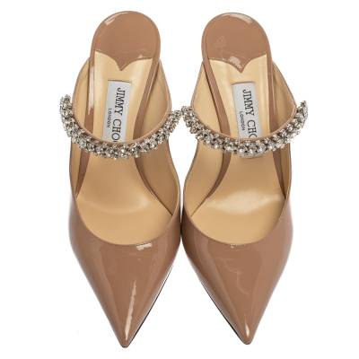 Jimmy Choo Beige Patent Leather Bing 65 Crystal Embellished Pointed Toe Mule Sandals Size 39.5 360246 - 2