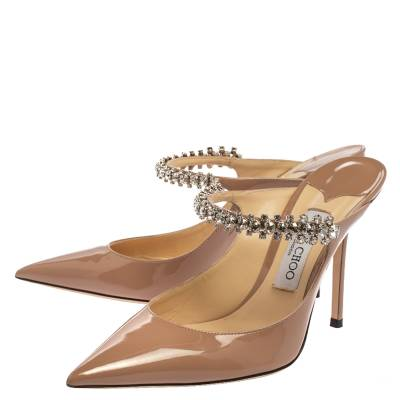Jimmy Choo Beige Patent Leather Bing 65 Crystal Embellished Pointed Toe Mule Sandals Size 39.5 360246 - 3