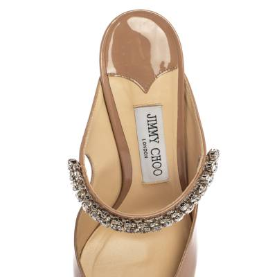 Jimmy Choo Beige Patent Leather Bing 65 Crystal Embellished Pointed Toe Mule Sandals Size 39.5 360246 - 6