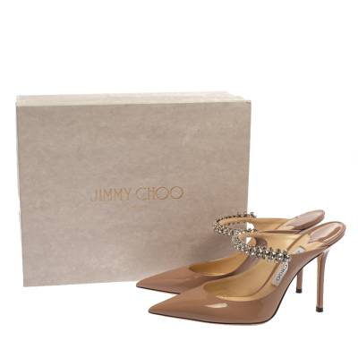 Jimmy Choo Beige Patent Leather Bing 65 Crystal Embellished Pointed Toe Mule Sandals Size 39.5 360246 - 7