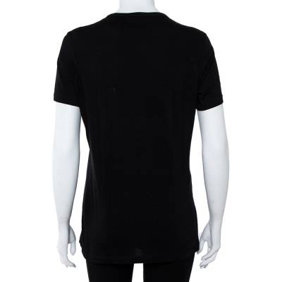 Elie Saab Black Cotton Jersey Logo Embossed T-Shirt S 360022 - 2
