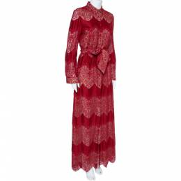 Alice + Olivia Red Floral Guipure Lace Maxi Shirt Dress M 360026