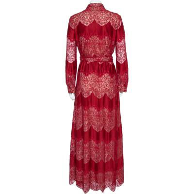 Alice + Olivia Red Floral Guipure Lace Maxi Shirt Dress M 360026 - 2
