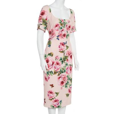 Dolce&Gabbana Pink Floral Printed Crepe Sheath Dress L 360029 - 1