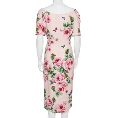 Dolce&Gabbana Pink Floral Printed Crepe Sheath Dress L 360029 - 2
