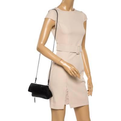 Bottega Veneta Black Intrecciato Leather Flap Zip Detail Crossbody Bag 360028 - 1