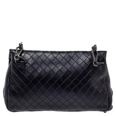 Bottega Veneta Black Intrecciato Leather Flap Zip Detail Crossbody Bag 360028 - 3