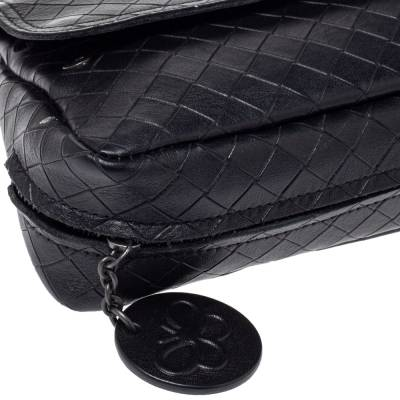 Bottega Veneta Black Intrecciato Leather Flap Zip Detail Crossbody Bag 360028 - 4