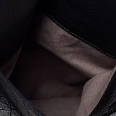 Bottega Veneta Black Intrecciato Leather Flap Zip Detail Crossbody Bag 360028 - 6