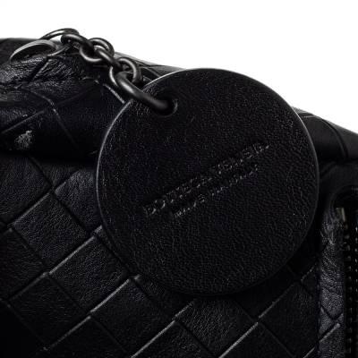 Bottega Veneta Black Intrecciato Leather Flap Zip Detail Crossbody Bag 360028 - 7