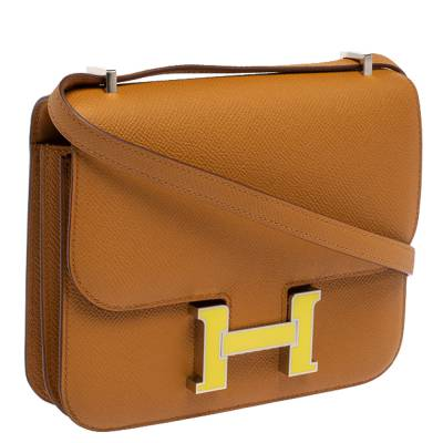 Hermes Natural Sable Evercolor Leather Mini Enamel Lacquer Hardware Constance Bag with Twilly 360119 - 2