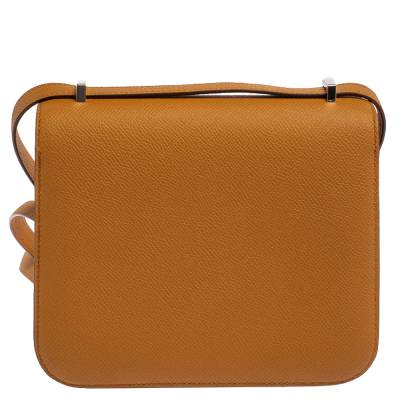 Hermes Natural Sable Evercolor Leather Mini Enamel Lacquer Hardware Constance Bag with Twilly 360119 - 3