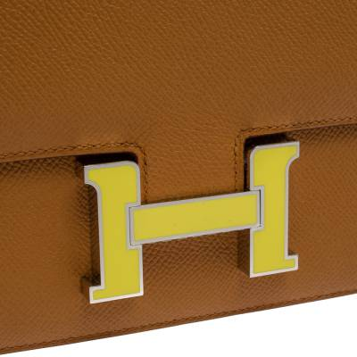 Hermes Natural Sable Evercolor Leather Mini Enamel Lacquer Hardware Constance Bag with Twilly 360119 - 4