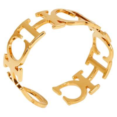 Ch Carolina Herrera Logo Gold Tone Open Cuff Bracelet 360118 - 1