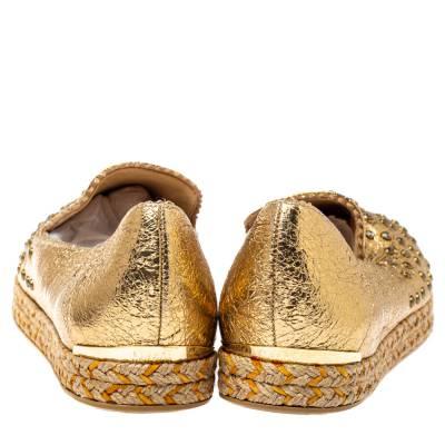 Stuart Weitzman Metallic Gold Leather Crystal Embellished Espadrille Flat Size 37 360113 - 4