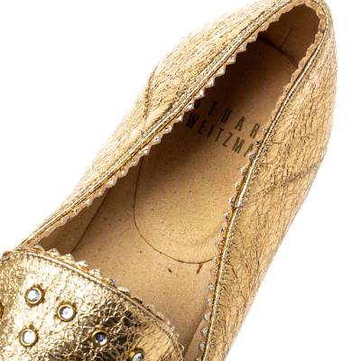 Stuart Weitzman Metallic Gold Leather Crystal Embellished Espadrille Flat Size 37 360113 - 6