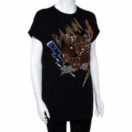 Balmain Black Cotton Jersey Sequined Tiger Motif T-Shirt S 359966