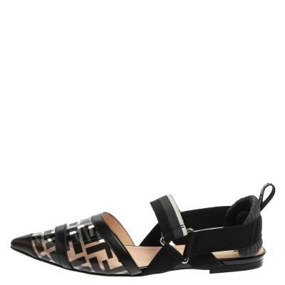 Fendi Black PVC And Leather Trim Colibrì Pointed Toe Flats Sandals Size 38.5 358436 - 1