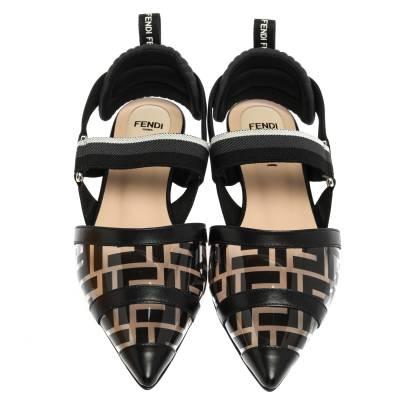 Fendi Black PVC And Leather Trim Colibrì Pointed Toe Flats Sandals Size 38.5 358436 - 2